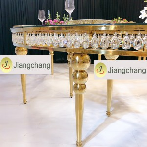Gold Metal Frame Glass Wedding Dining Table/Stainless Steel Table SF-SS038