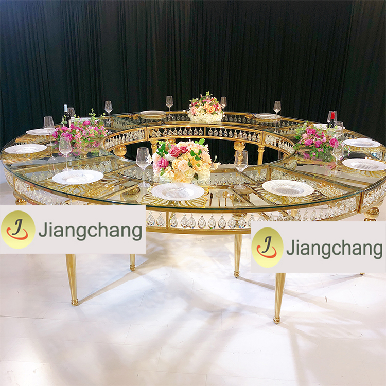Gold Metal Frame Glass Wedding Dining Table/Stainless Steel Table SF-SS038 Featured Image