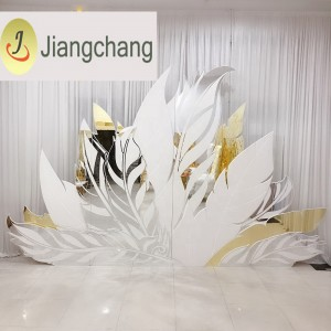 Feather Silver and Golden Acrylic Mirror PVC wedding backdrop SF-BJ032