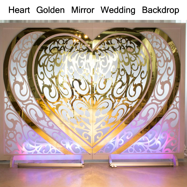 Renewable Design for Cheap Auditorium Seating - Heart Golden Mirror Wedding Backdrop SF-BJ03 – Jiangchang Furniture Featured Image