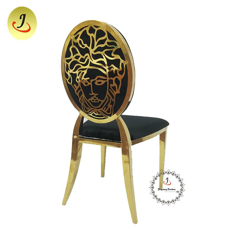 Modern style gold Carved back stainless steel metal dining chair   SF-SS034 Featured Image