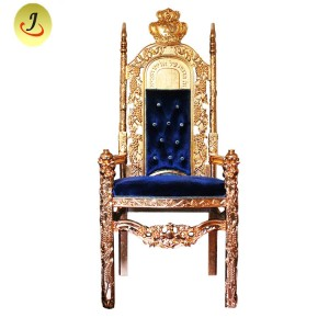 Indien Antique Royal Gold Throne Stolar / Modern Lyx King Throne Chair SF-K030