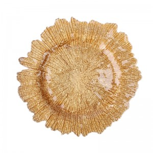 wholesale fancy reef silver gold glass wedding charger plates SF-PZ02