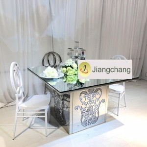 Modern Luxury Golden Mirrored Rectangle Illumination Acrylic Wedding Table SF-WT026