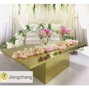 Modern new design gold stainless steel metal wedding table SF-SS039