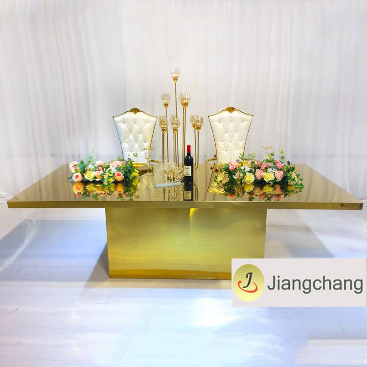 Modern new design gold stainless steel metal wedding table SF-SS039 Featured Image