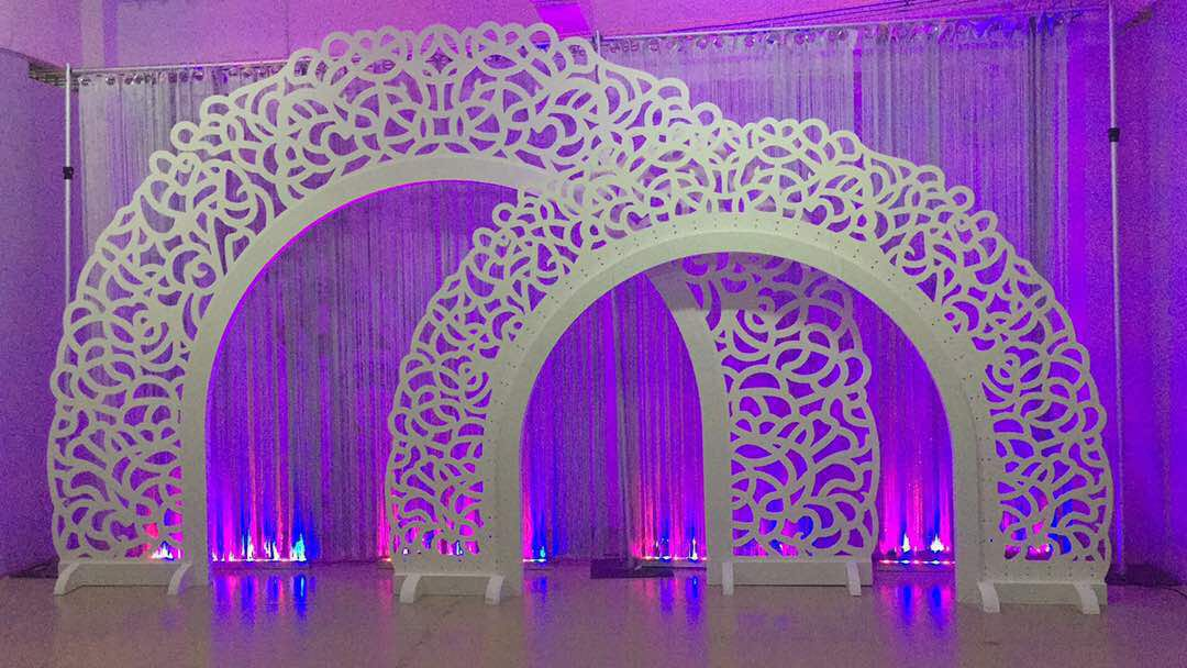 Renewable Design for Cheap Auditorium Seating - Heart Golden Mirror Wedding Backdrop SF-BJ03 – Jiangchang Furniture detail pictures