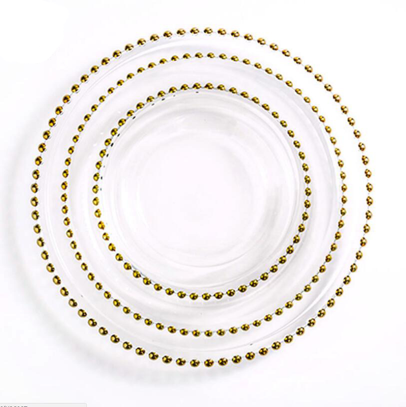 Special Price for Gold Banquet Chair - Cheap Wedding Glass Beaded Gold Charger Plates Wholesale SF-PZ01 – Jiangchang Furniture