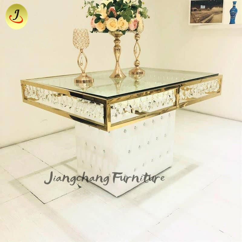 wedding furniture classic dining table crystal banquet mirror table SF-ST09 Featured Image
