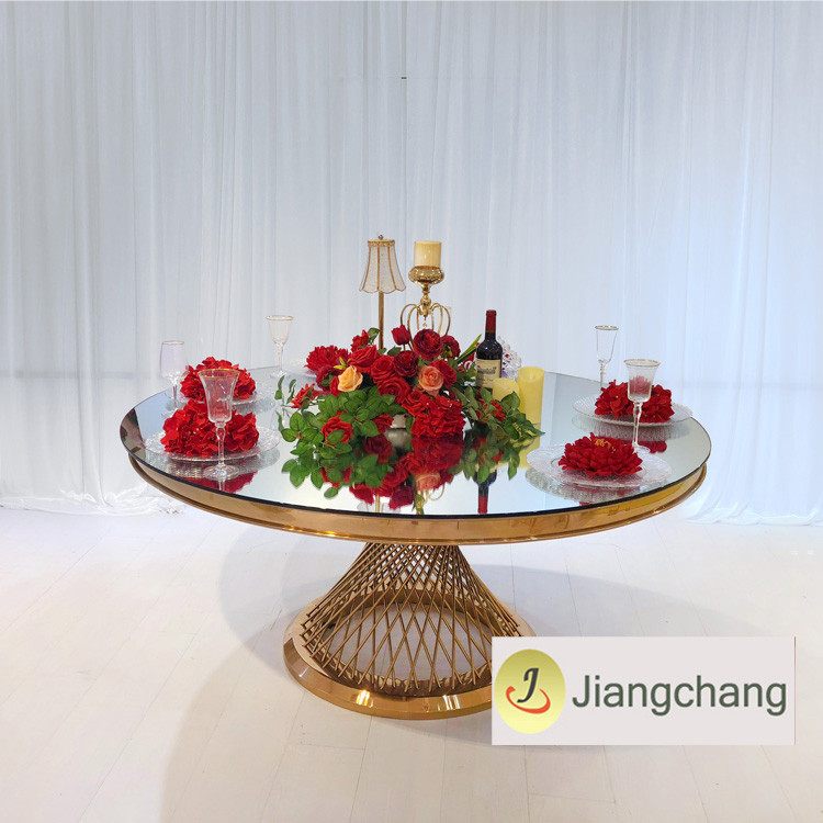 Stainless steel with glass top restaurant dining table/modern wedding dining table SF-SS026 Featured Image