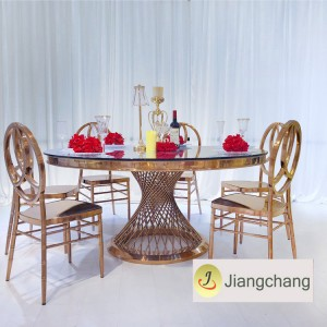 Stainless steel with glass top restaurant dining table/modern wedding dining table SF-SS026