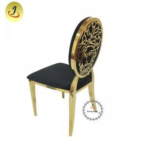 Modern style gold Carved back stainless steel metal dining chair   SF-SS034