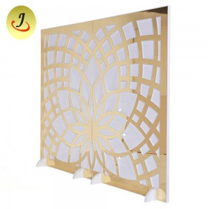 white wooden lotus shaped acrylic wedding backdrop