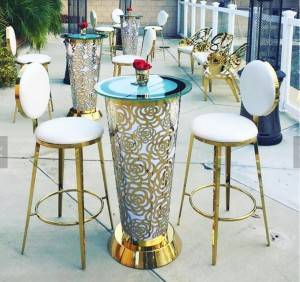 stainless steel round cocktail event bar tables SF-MB04