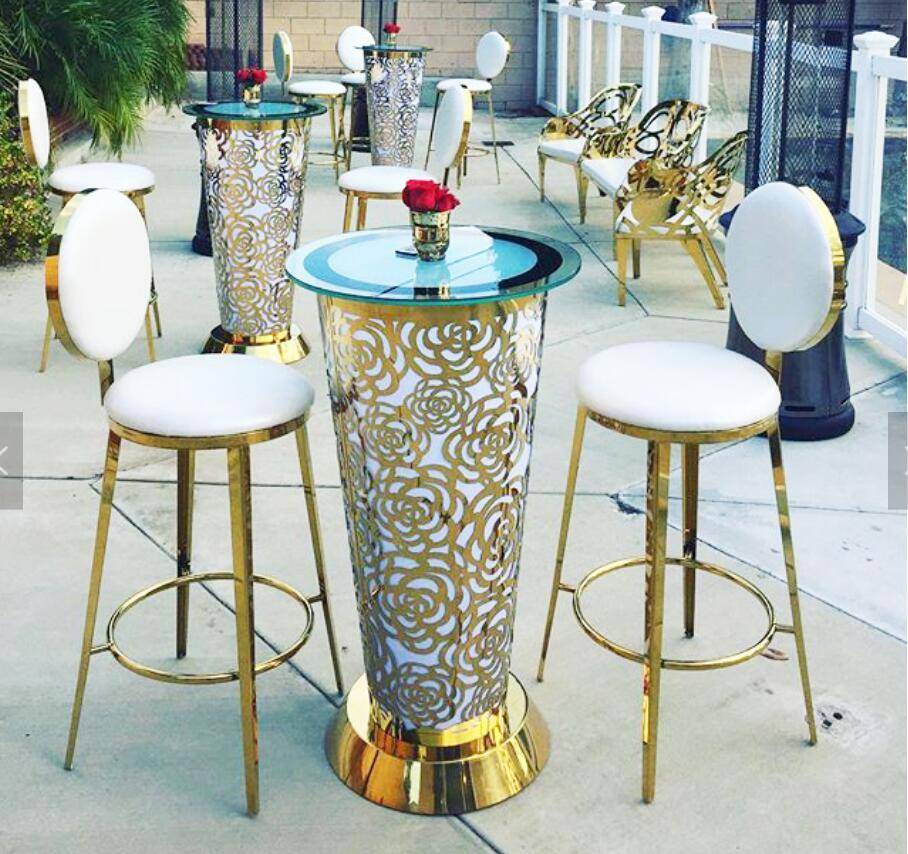 stainless steel round cocktail event bar tables SF-MB04 Featured Image