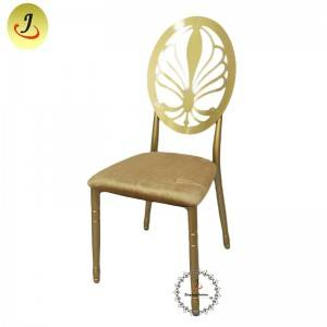 Modern style gold Carved back hollow stainless steel metal dining chair   SF-SS042
