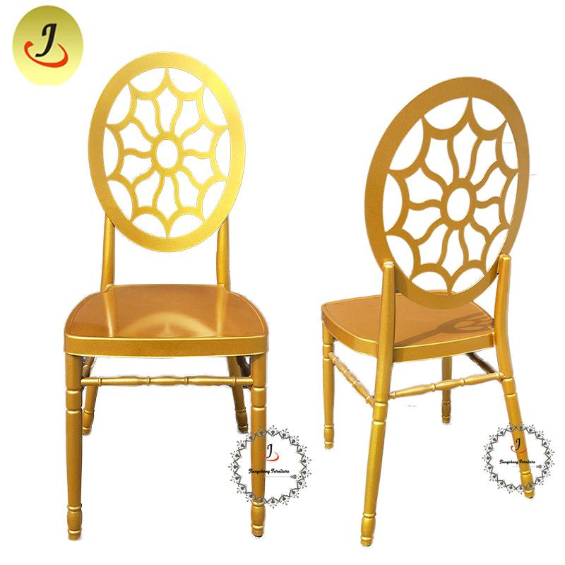 Wedding Event Hollow Golden luxury Stainless Steel Dining Chair SF-SS040 Featured Image