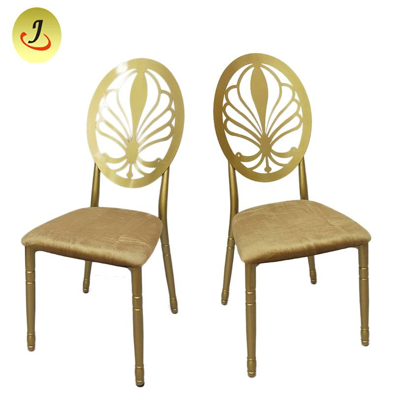 Modern style gold Carved back hollow stainless steel metal dining chair   SF-SS042 Featured Image