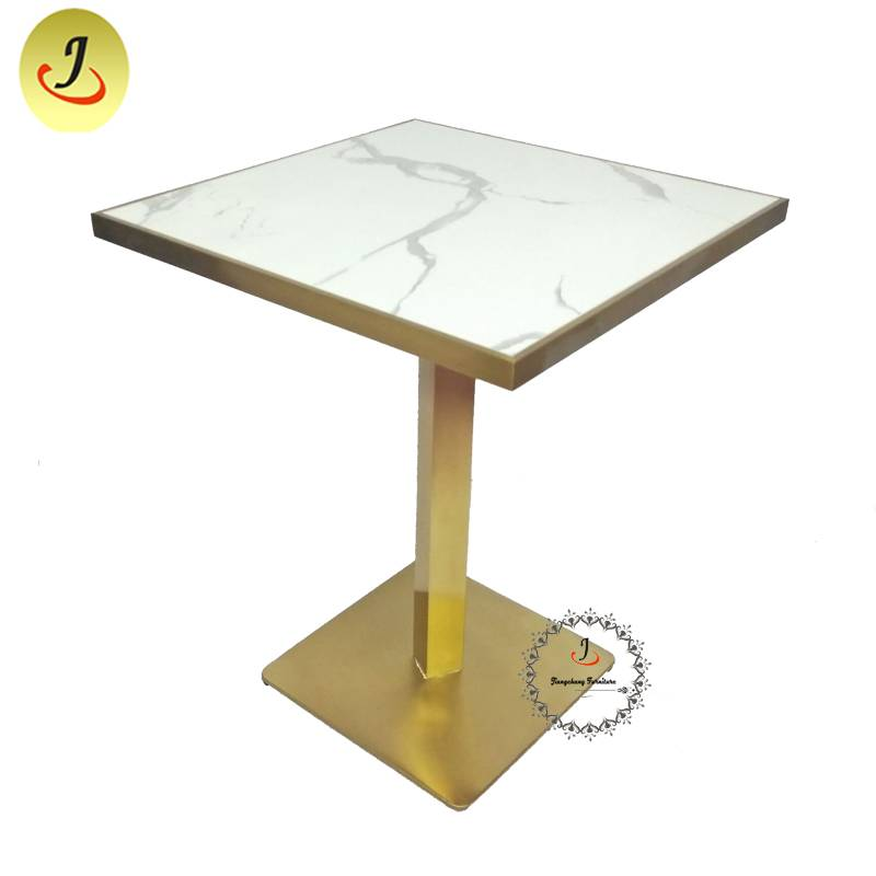 Modern style Luxury Gold Stainless Steel iron Furniture Square Dining Table  SF-SS042 Featured Image