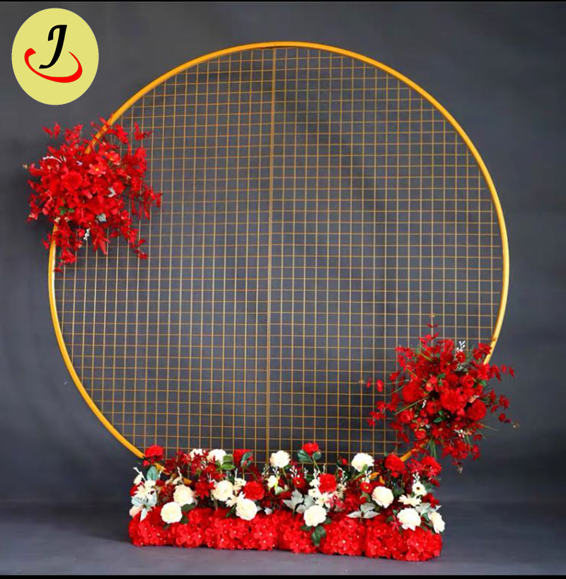 wholesale price gold wedding decoration 2m round iron wedding backdrop stage SF-BJ051 Featured Image