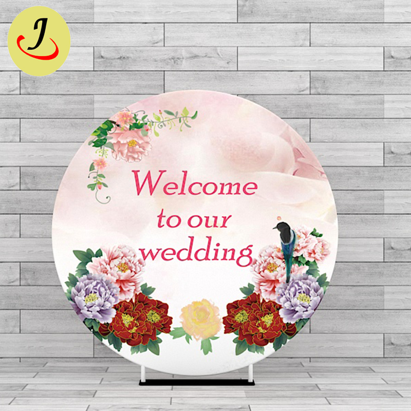 New design 2m custom printing tension fabric wedding round backdrop SF-BJ045 Featured Image