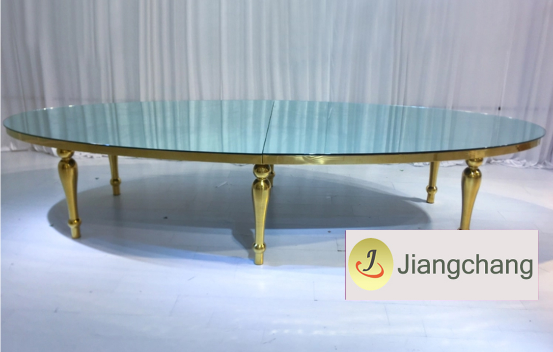 oval mirror table