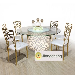 Modern Round iron frame LED light glass top table SF-MB06