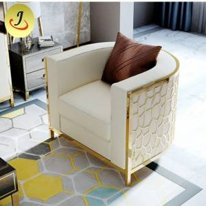 Golden stainless steel legs gold modern stainless steel frame luxury single sofa SF-k042