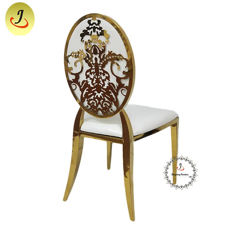 The best price Modern style golden color Carved back stainless steel metal dining chair    SF-SS041 Featured Image