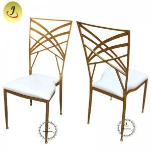 Cross back golden stainless steel metal dining furniture chair SF-SS019