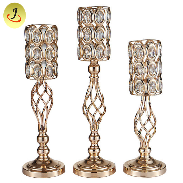Wedding Candlestick Hanging Crystal Bead Metal Flower Stand/Wedding Decoration SF-ZT028 Featured Image
