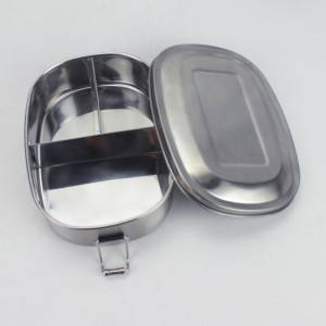 Stainless-steel oval lunch box with lock.