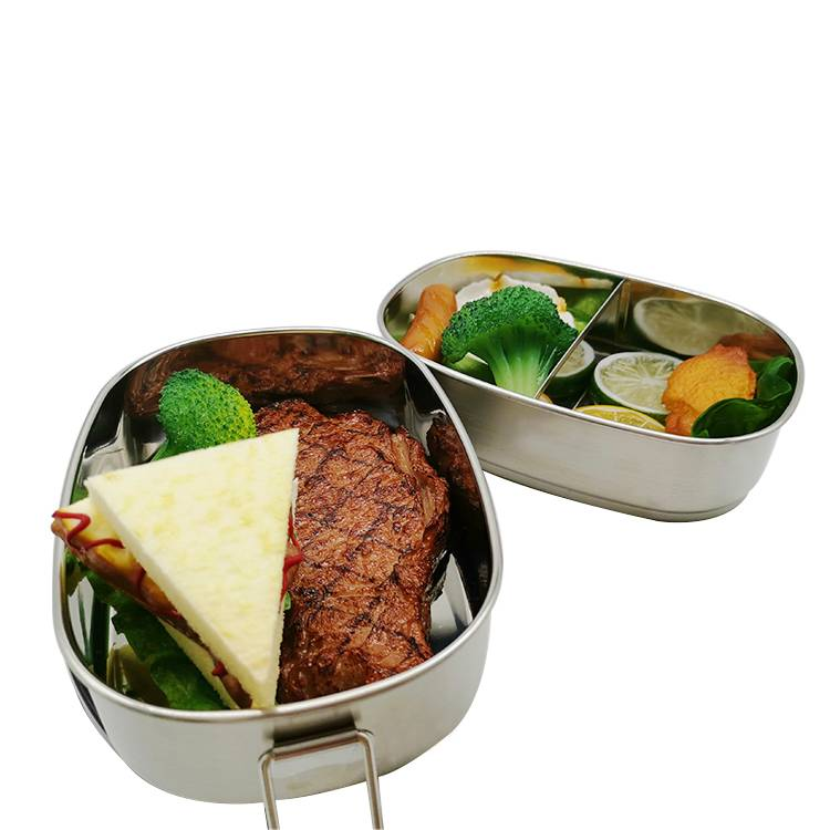 Eco Two layer stainless steel lunch Food-grade compartments bento