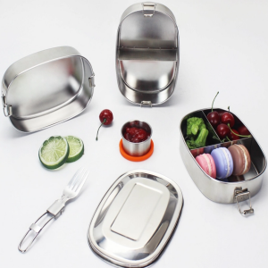 Stainless steel multi compartment lunch box.