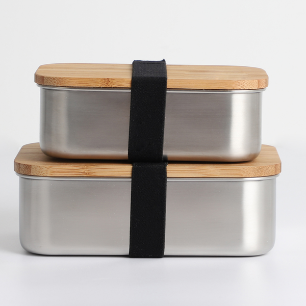 SGS Stainless Steel Plain Metal Lunch Box With Bamboo Lid. Featured Image