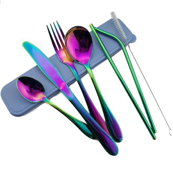 High Quality Wholesale Gold Stainless Steel Cutlery Set Rainbow Cutlery Organiser Featured Image