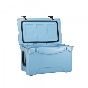 35QT Roto-molded marine cooler light blue color