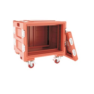 8U Rotomolded plastic flight case with wheels
