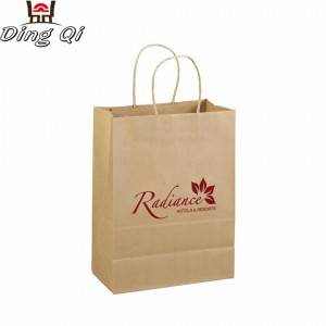 Customized take away cheap brown fast food bread packaging small blank twisted twist handle kraft paper bag