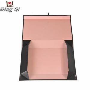 Magnetic closure dress packaging cardboard wig packing flat pack magnetic folding gift box