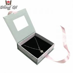 Custom luxury cardboard magnetic gift jewellery jewelry box with ribbon magnetic lid clear front pvc window