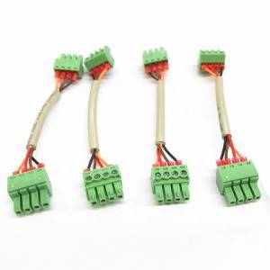 3.81mm Pluggable Terminal Block 4 Pin Connector*2 with 2464 22awg 4 cores cable 80mm for Photovoltaic inverter