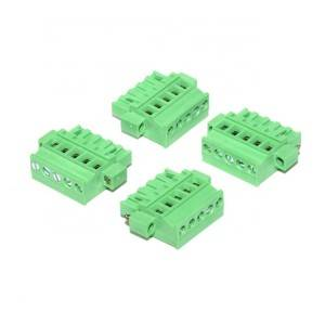 5.08 mm pitch 5 pin female green connector right angle terminal block with screw