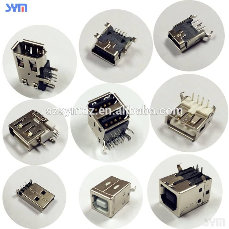 USB connector 2.0 / 3.0 usb para Micro / Mini / type C cable, SMT sawsaw PCB socket