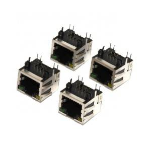 RJ45 8P8C Modular jack Female PCB connector shielded , with light and transformer