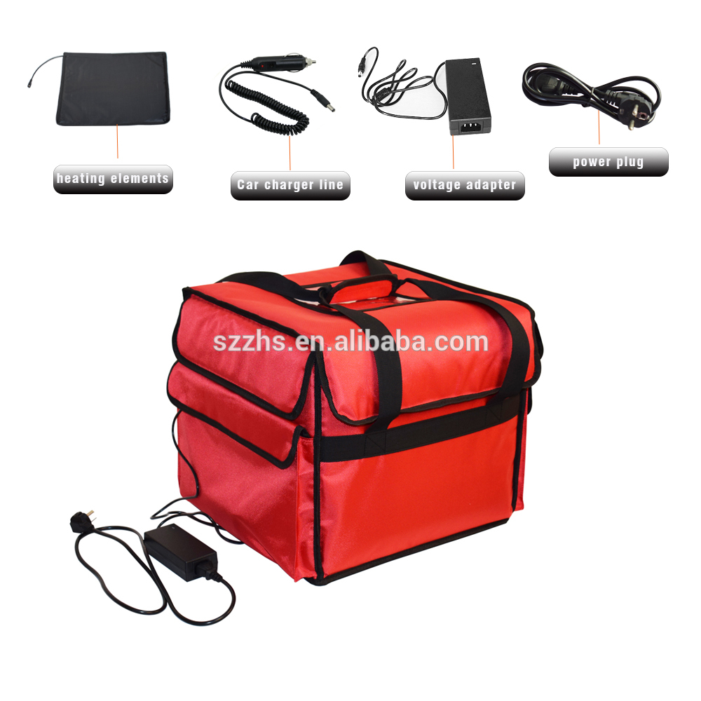 Best quality Wholesale Thermal Insulated Cooler Bags - 12V Polyester Heated Insulated Pizza Food Delivery Bag India with Car Charger Cable – Zhao Hongsheng
