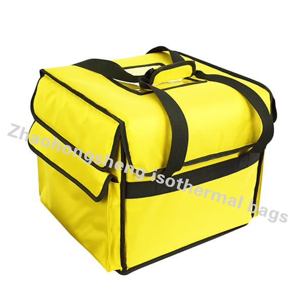 LINE Waterproof 12V terisolasi Lunch Container Hot Food Digawe Pizza Delivery Bag Dandani Tulisan