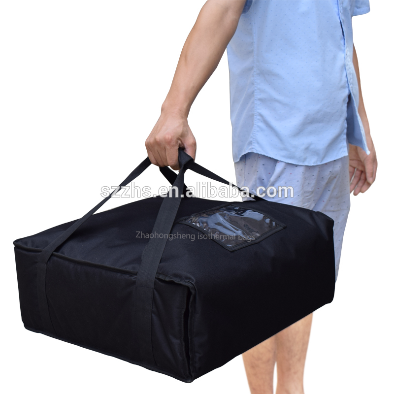 Chinese Professional Pizza Cooler Bag - black polyester insulated thermal pizza food delivery pizza bag – Zhao Hongsheng
