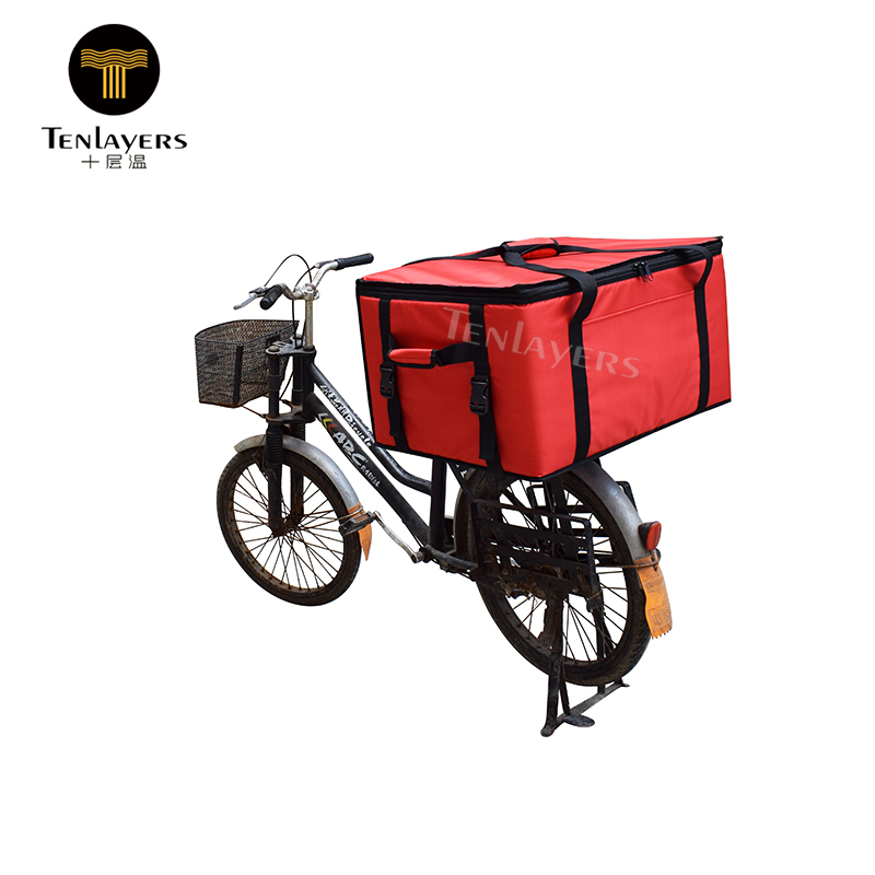 Extra large aluminum foil insulated hot cold food delivery bike bag cooler box