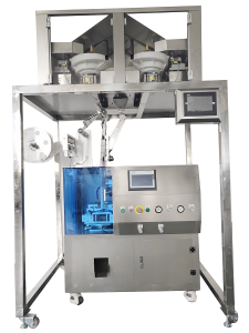 Automatic  6heads electric weighing quantitative type  pyramid tea bag packaging machine Model :SJ100-6D
